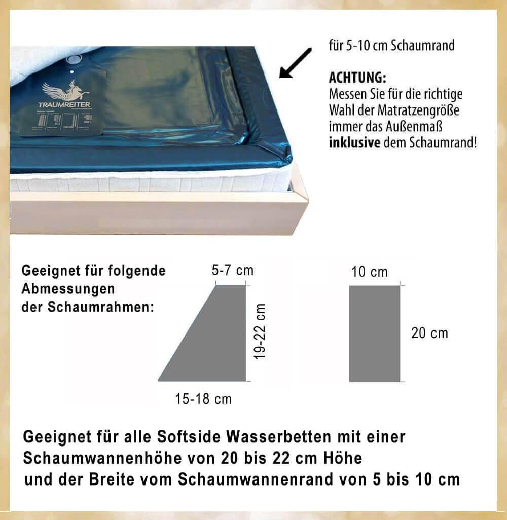 Wasserbettmatratze 90x200 für dual180x200 Wasserbetten Wasserkern Wassermatratze