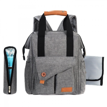 Wickelrucksack grau vielseitiger als Wickeltaschen